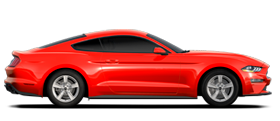 Ford Mustang Ecoboost Coupé 2021 illustré en rouge course